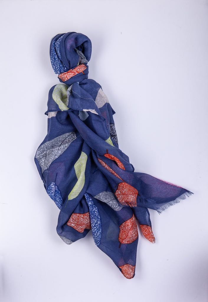 Multi-Colored Leaves Print Scarf Blue