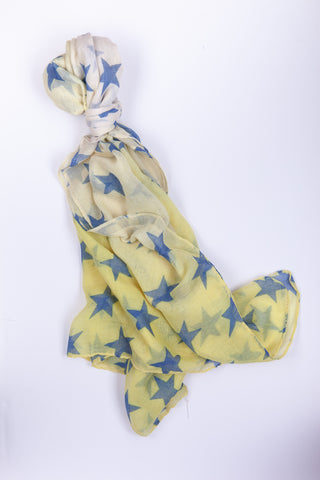 Yellow Scarf with Blue Stars