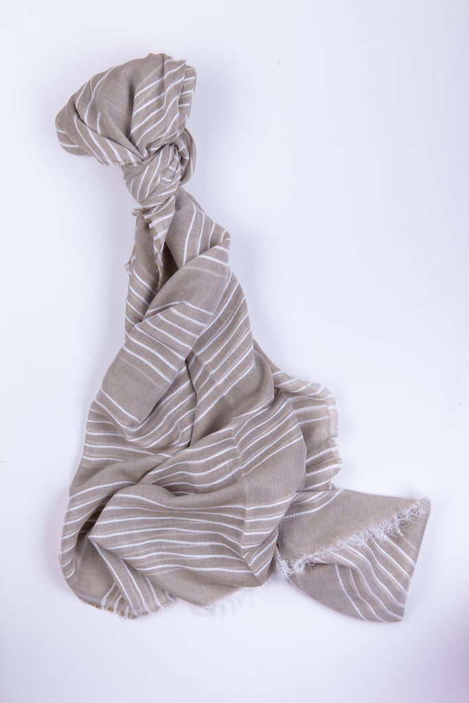 Whisper Linen Striped Scarf Natural