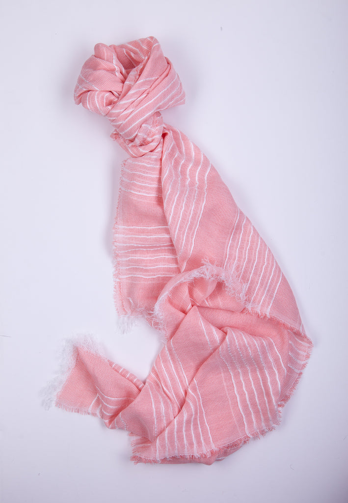 Pink Scarf with White Stripes