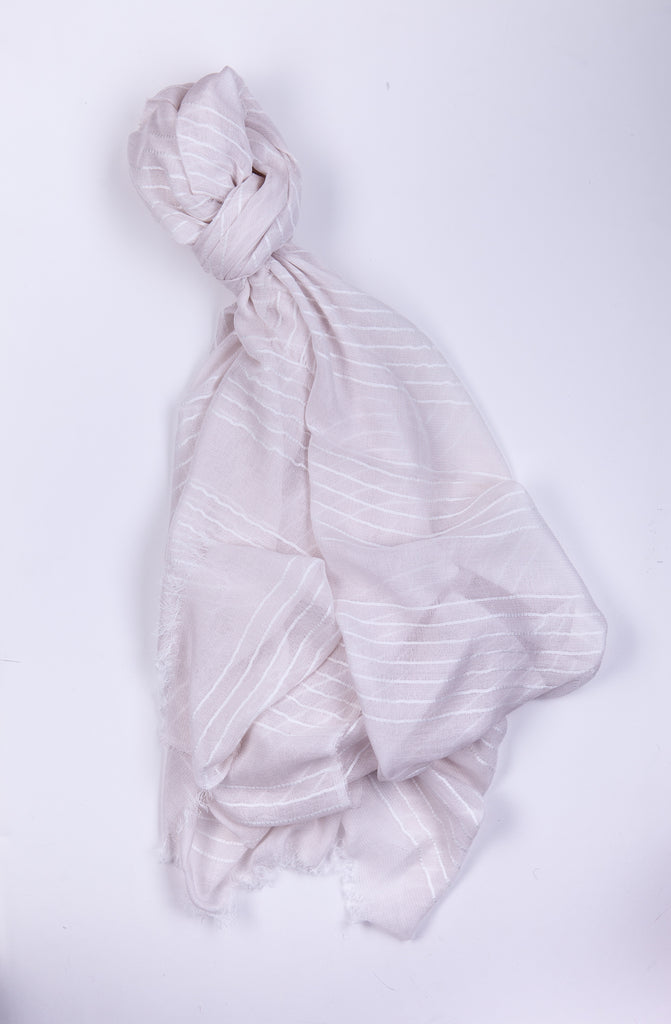 Pale Scarf with White Stripes