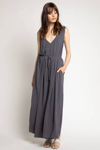 PLEATED V-NECK LINEN JUMPSUIT