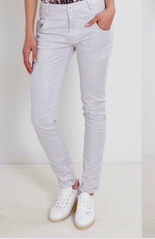 White Lurex Dot Jean