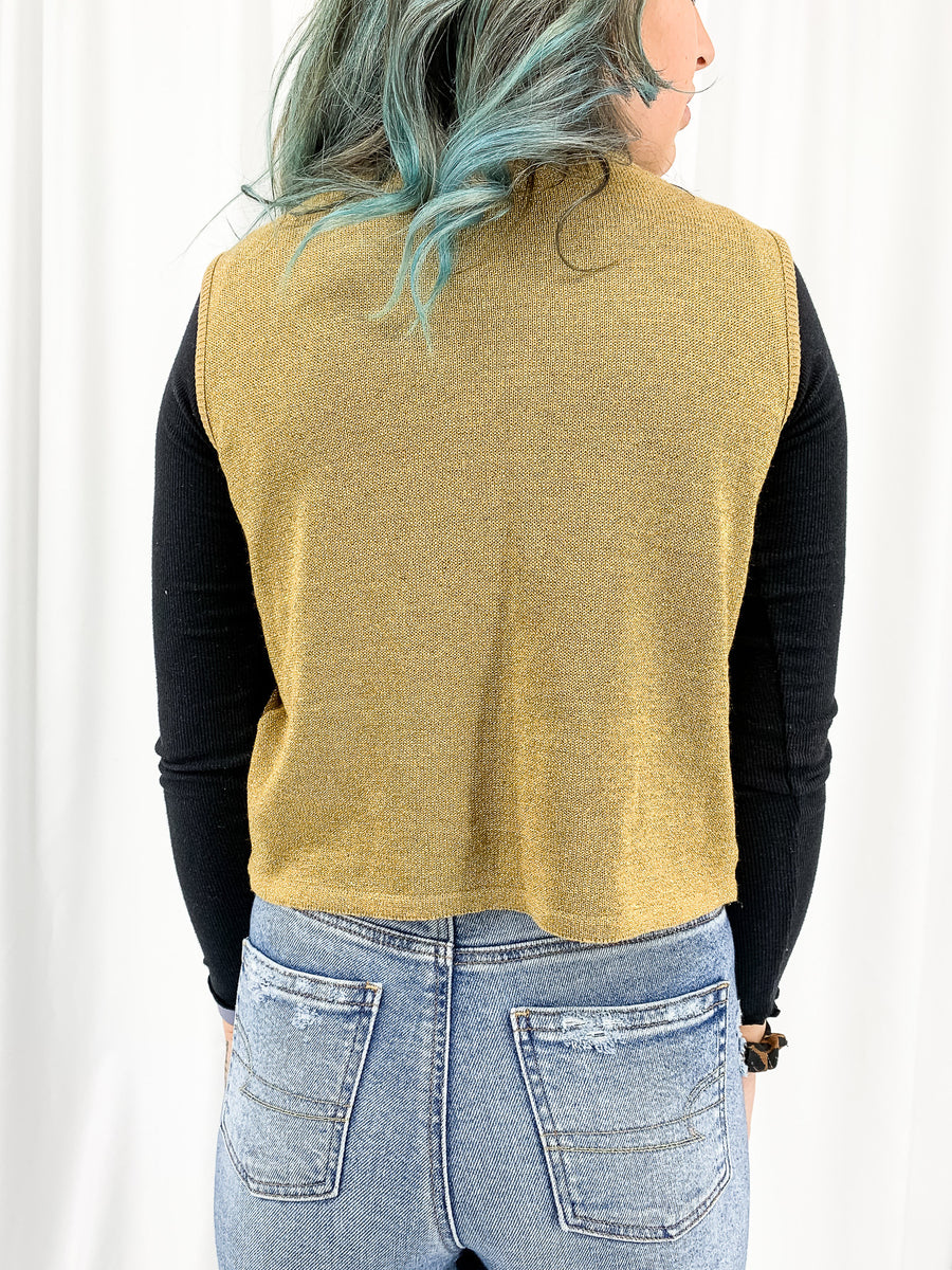 Vintage Gold Sweater Tank - M