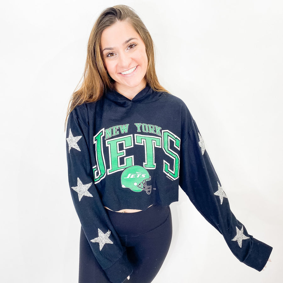 Vintage New York Jets Bling Thermal Hoodie - M