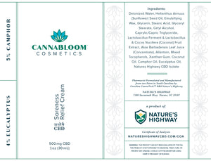 CannaBloom Soreness Relief Hemp Cream