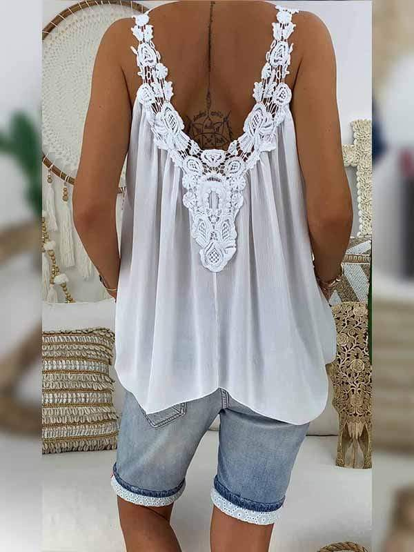 wiccous.com Plus Size Tops White / L Plus size lace stitching chiffon shirt