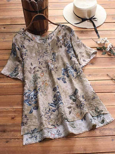 wiccous.com Plus Size Tops Coffee / L Plus size leaf printed button short sleeve shirt