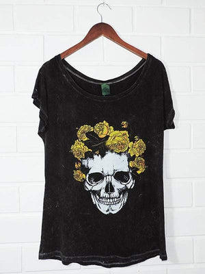 wiccous.com Plus Size Tops Skull Print Off-Shoulder T-Shirt