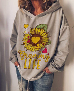 wiccous.com Plus Size Tops Grey / S Sunflower LIFE Printed Hooded Sweater