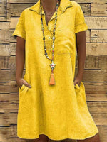 wiccous.com Plus Size Dress Yellow / L Plus size solid color pocket dress