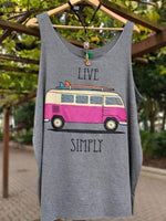 wiccous.com Plus Size Tops Grey / S LIVE SIMPLY Car Print Tank