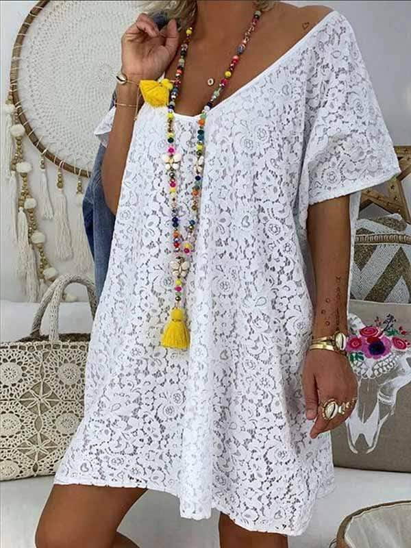 wiccous.com Plus Size Tops White / L Plus size lace dress