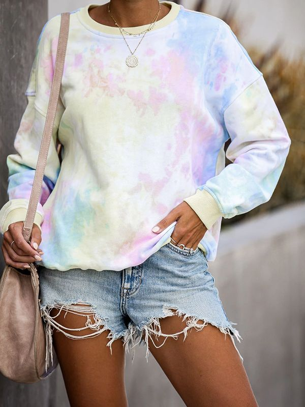 Long Sleeve Tie Dye Cotton Blend Sweatshirts