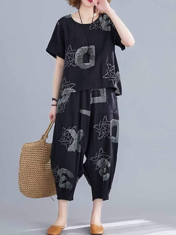 wiccous.com Plus Size Two-Pieces Same as photo / XL Plus Size Cotton linen Wide Leg Pants Suit