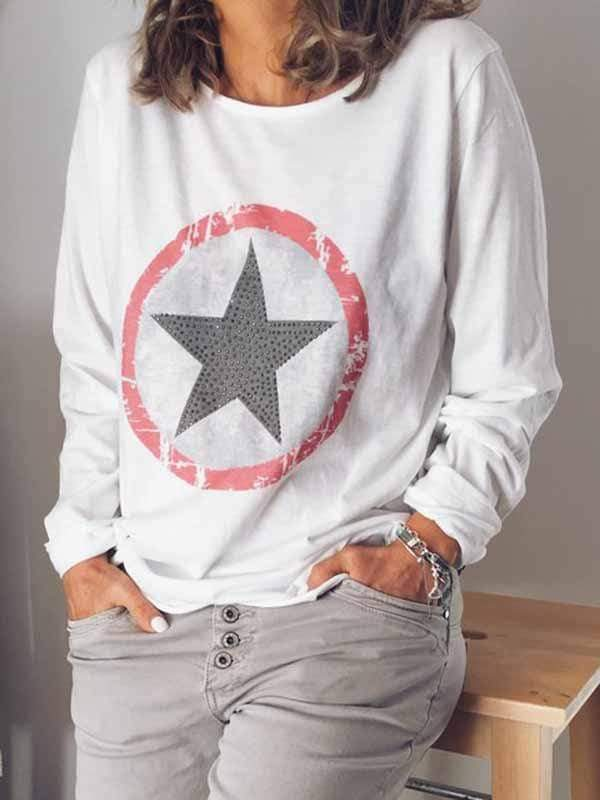 wiccous.com Plus Size Tops White / L Plus Size Star Diamond Print Sleeve T-Shirt