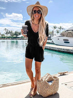 wiccous.com Jumpsuits Black / S V-Neck Short Sleeve Romper
