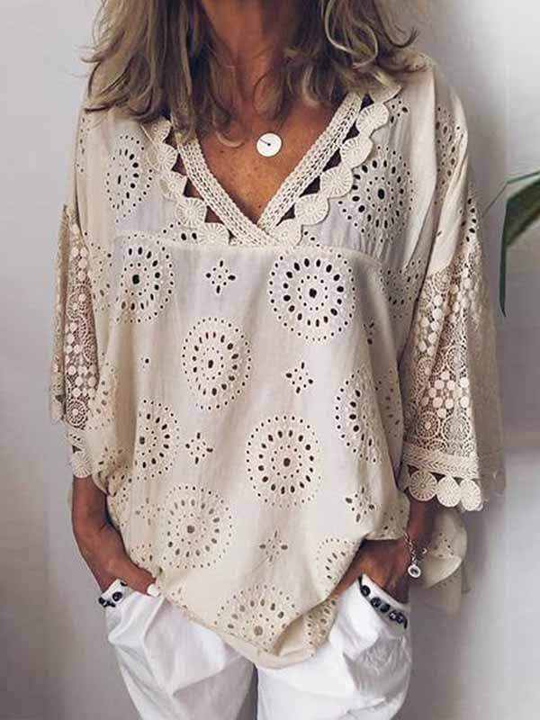 wiccous.com Plus Size Tops Beige/White / S Plus Size Hollow Embroidery Shirt