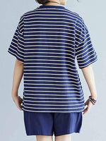 wiccous.com Plus Size Two-Pieces Blue / 2XL Plus size striped casual wear suit