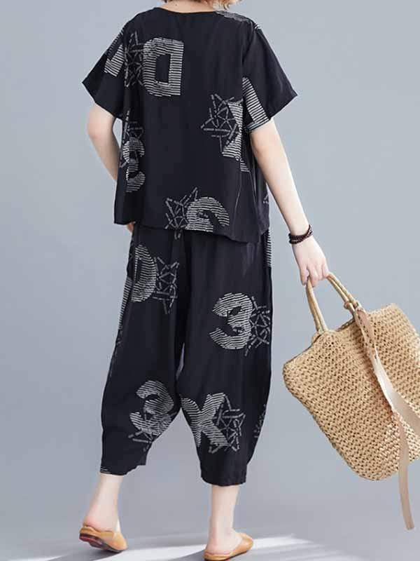 wiccous.com Plus Size Two-Pieces Plus Size Cotton linen Wide Leg Pants Suit