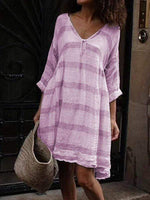 wiccous.com Plus Size Dress Light Purple / L Plus size striped long sleeve V-neck dress
