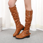 Women's Fashion Pleated Buckle Boots