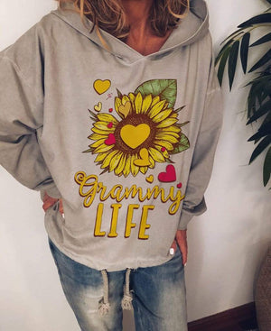 wiccous.com Plus Size Tops Sunflower LIFE Printed Hooded Sweater
