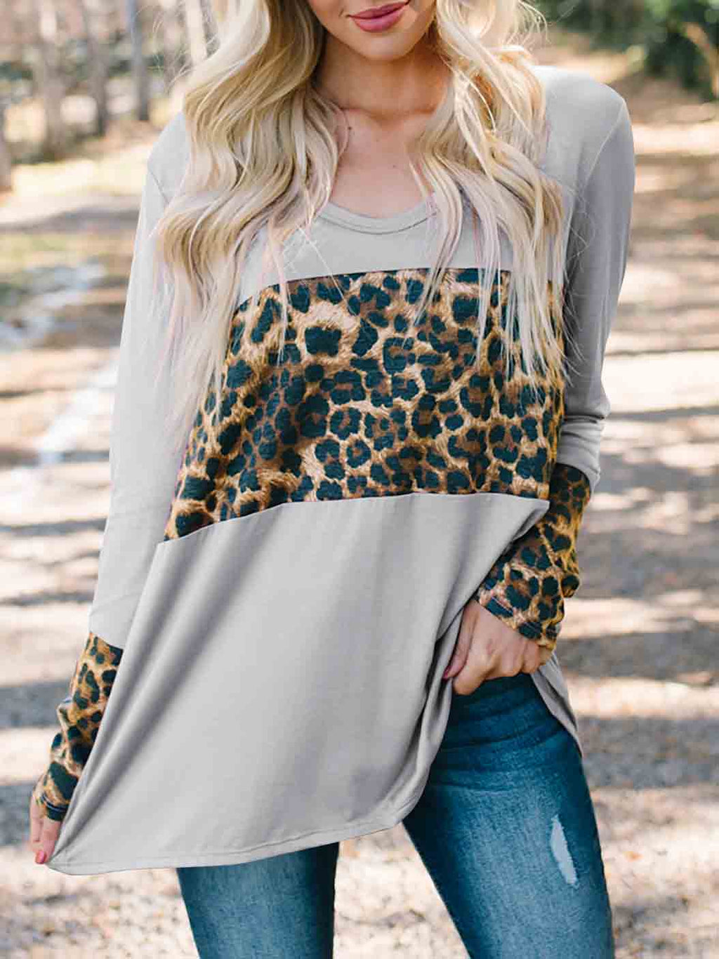Leopard-Print Stitching Long-Sleeved Blouse