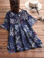 wiccous.com Plus Size Tops navy blue / L Plus size leaf printed button short sleeve shirt