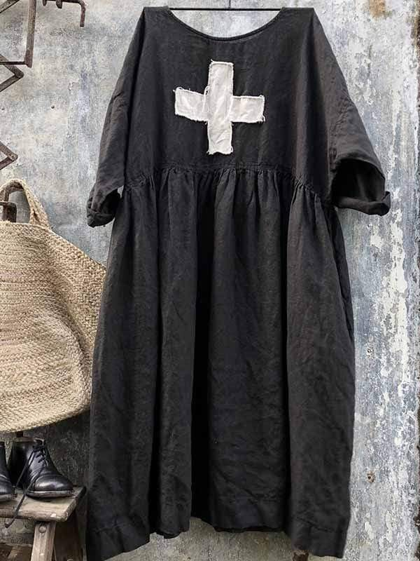 wiccous.com Plus Size Dress Black / L Plus Size Loose Cotton Linen Dress
