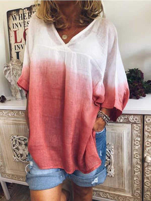 wiccous.com Plus Size Tops Red / L Plus size V-neck gradient long-sleeved T-shirt