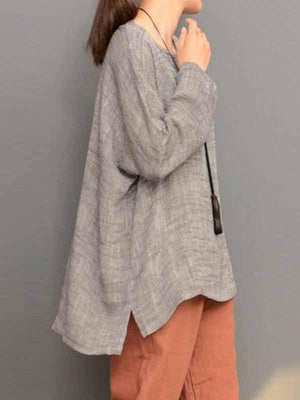 wiccous.com Plus Size Tops Grey / M Plus Size Irregular Hem Solid Color T-shirt