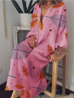 wiccous.com Plus Size Dress Pink / L Plus size print dress