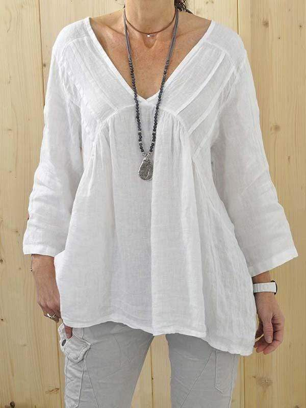 wiccous.com Plus Size Tops White / S Solid Pleated Shirt