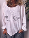 Mickey And Minnie Mouse Printing Large Size T-shirt
