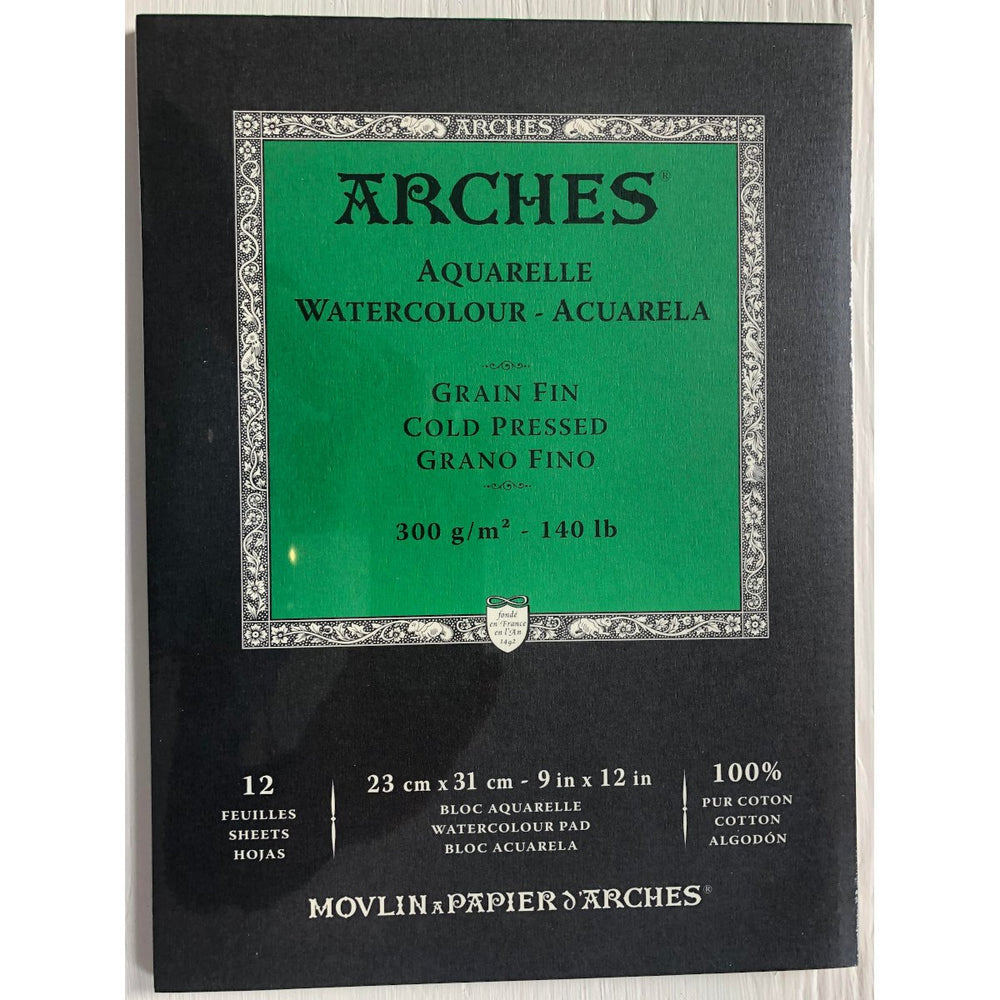Arches Aquarelle WaterColour Pad Cold Pressed paper 12 Sheets 140 lb