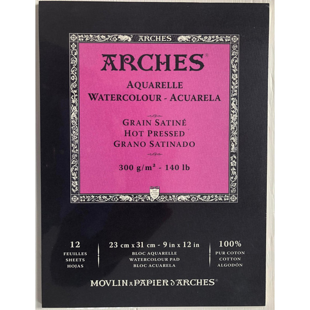 Arches - WaterColour Pad - Hot Pressed - 12 Sheets