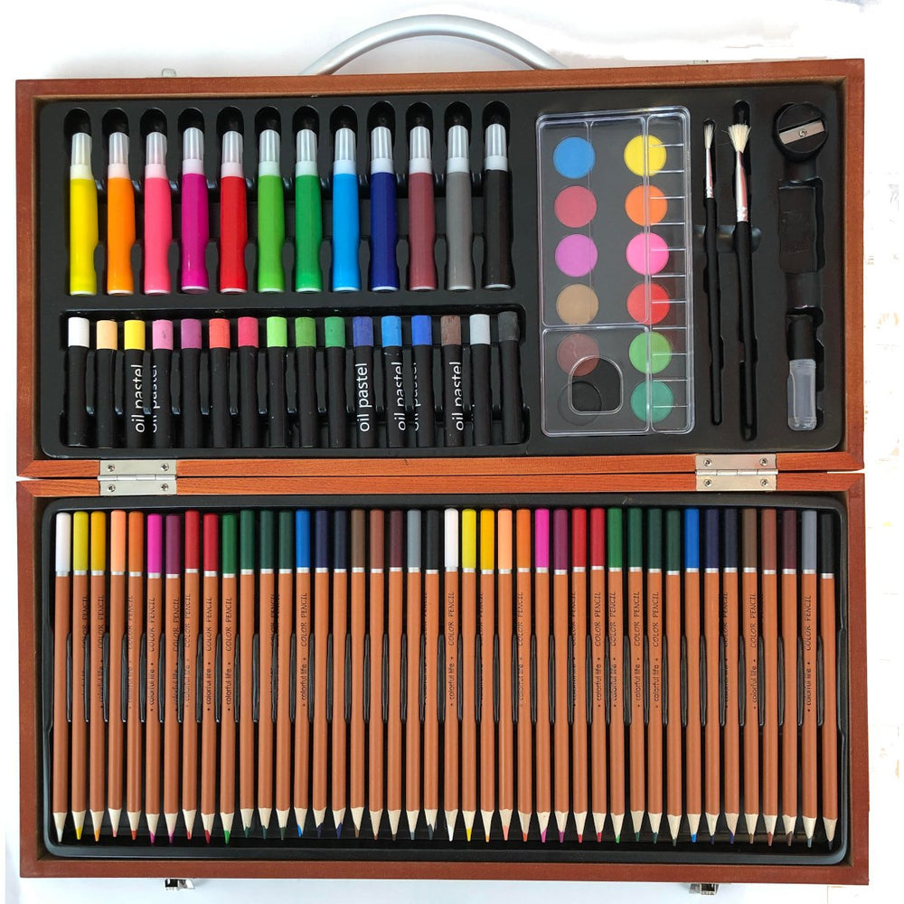 Wooden Artist's Case 88 Pieces kids drawing and painting