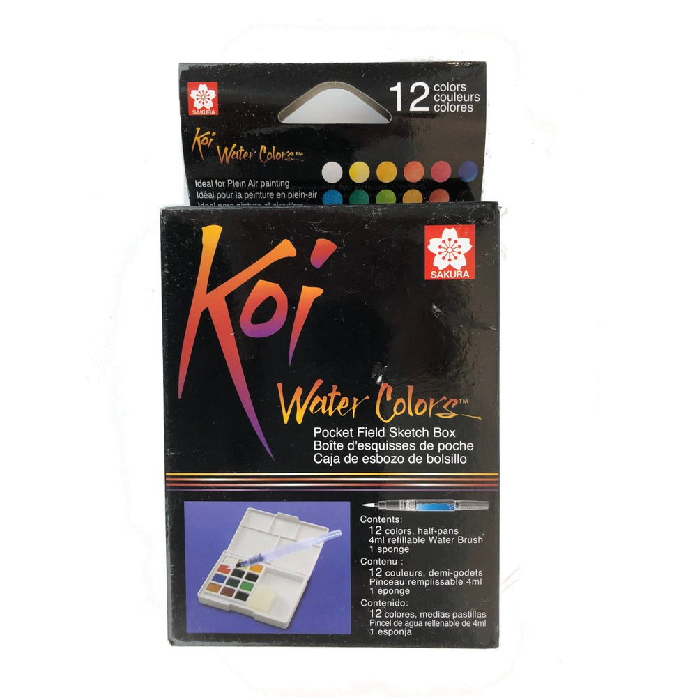 Sakura- Koi Water Colors  Field Sketch Box, 12 pan set