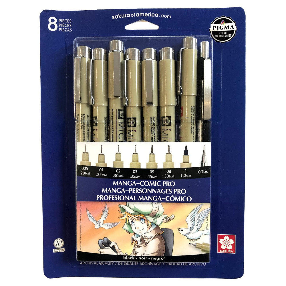 Sakura -  Manga-Comic Pro Pigma Set of 8 (Black) - Live Love Art Factory