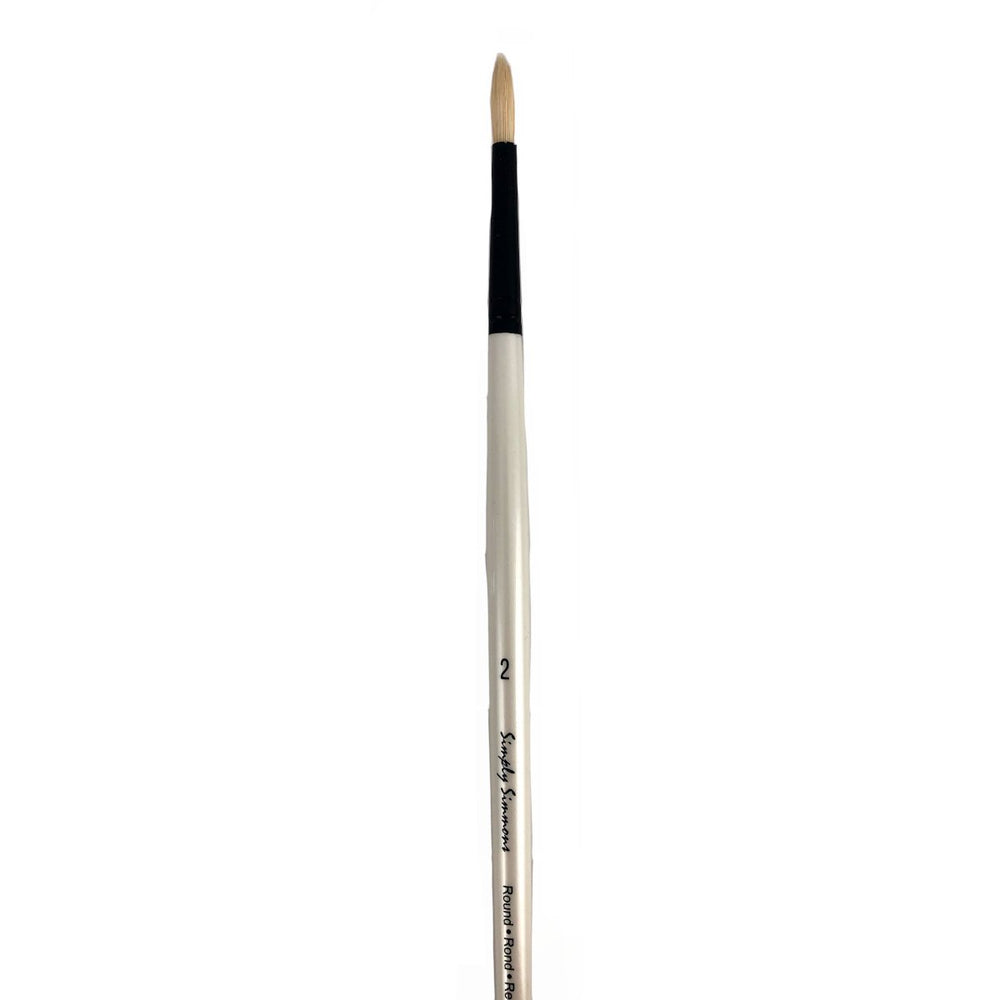 Daler Rowney - Simply Simmons - Round Oil Paint Brushes, Long Handle, 3 Sizes - Live Love Art Factory