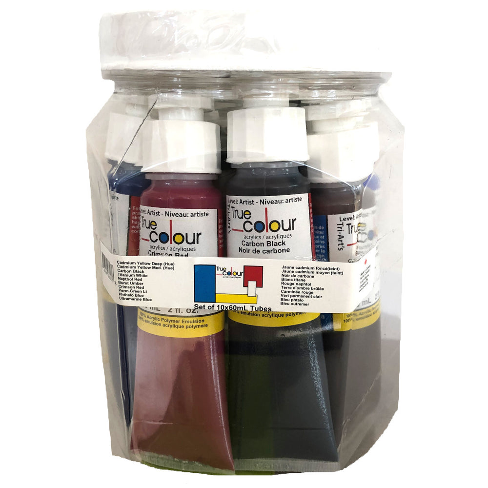 Tri-Art True Colour Acrylic Set 10 Set, 60 ml tubes