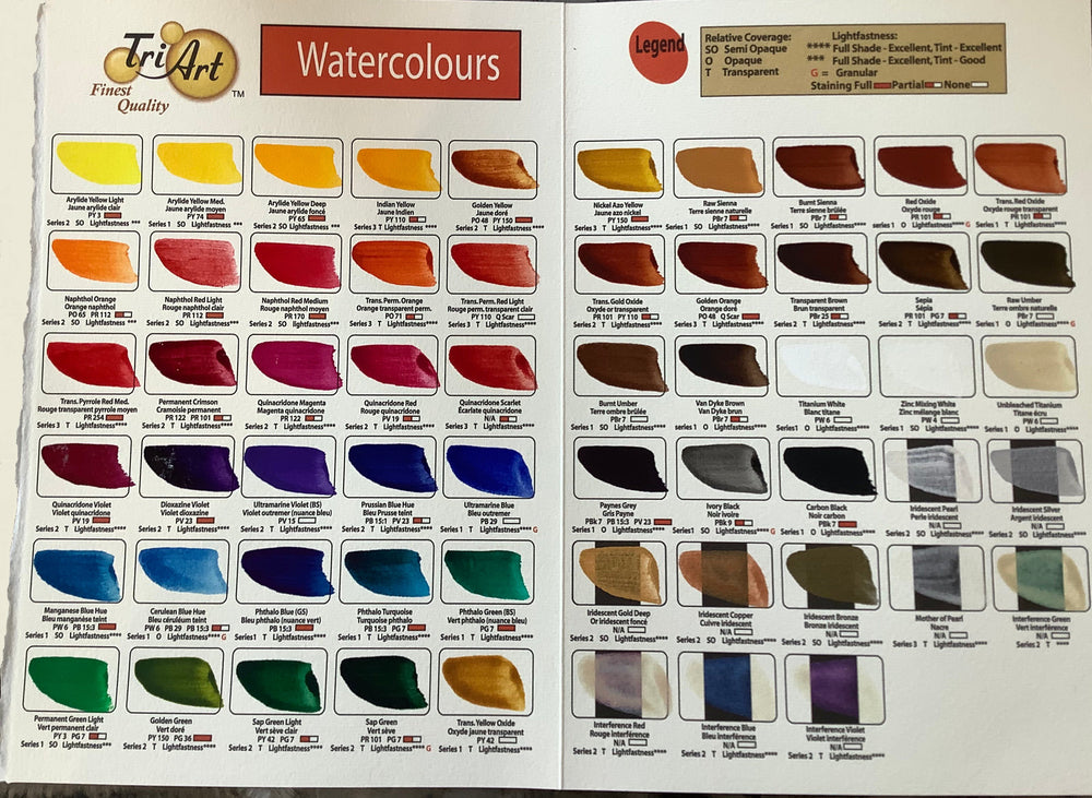 Tri Art - Watercolours 22ml Tubes, 58 Colours
