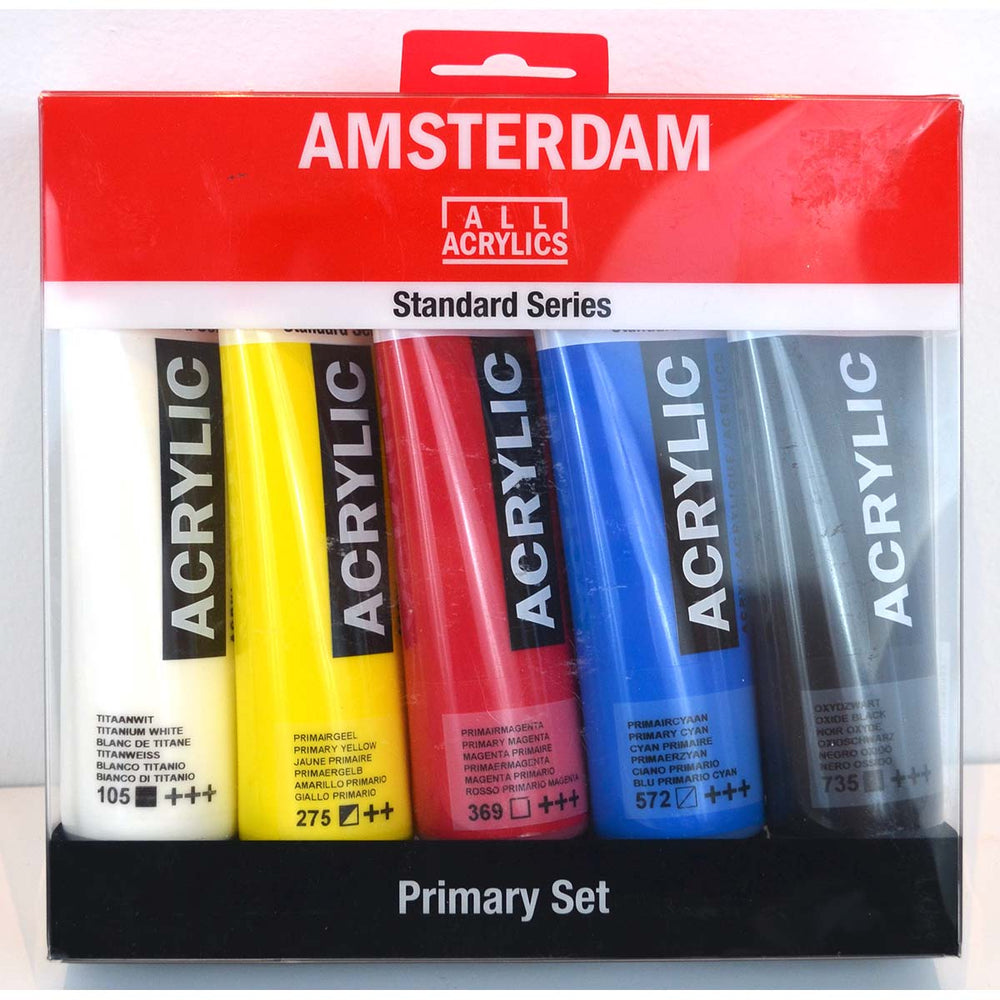 Royal Talens - Amsterdam Acrylic Paints -  Standard Series - 5 X 120ml Tubes, Assorted Colours