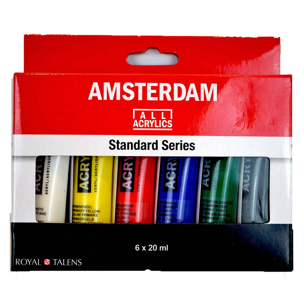 Royal Talens - Amsterdam Acrylic Paints -  Standard Series - 6 X 20ml Tubes, Assorted Colours