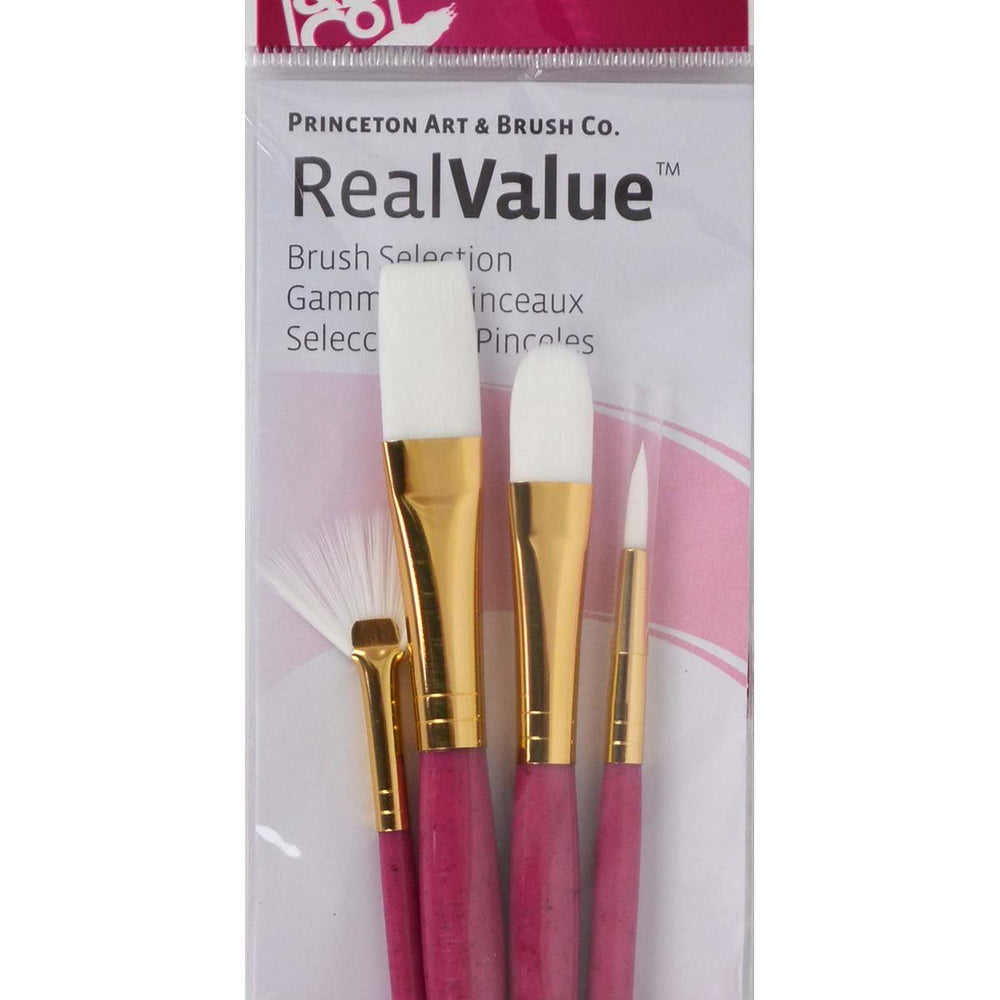 Princeton Real Value Brush Selection - Synthetic Hair - White Taklon - Live Love Art Factory