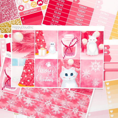 Pink Christmas White Kitten Sticker Kit