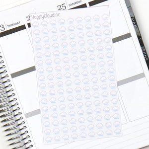 Rainy / Rain Weather Tracking Planner Stickers - Glossy (144 Stickers)