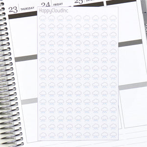 Light Rain Weather Planner / BUJO Stickers - Glossy (135 Stickers)