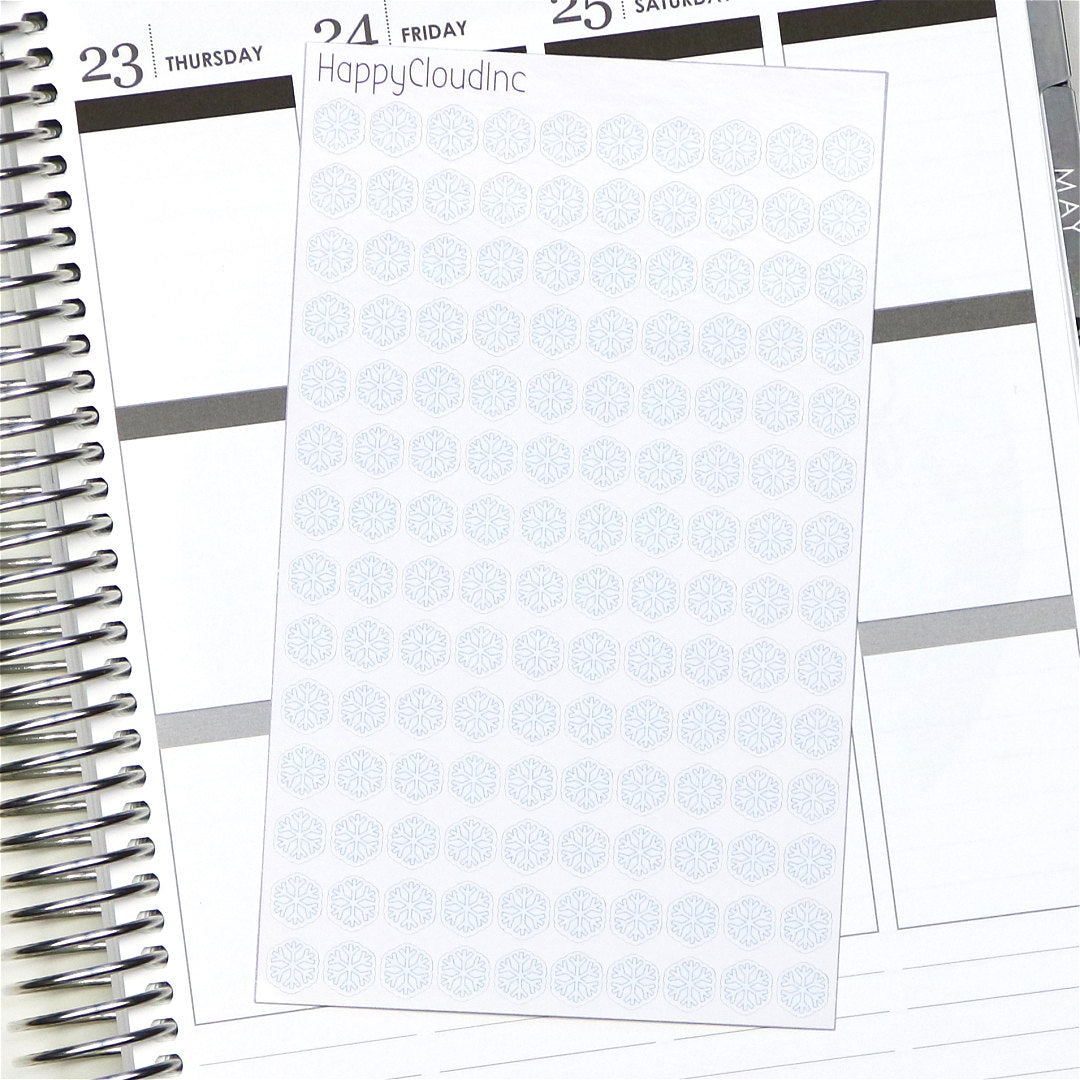 Snow / Snowflake Weather Tracking Planner / BUJO Stickers - Glossy (140 Stickers)